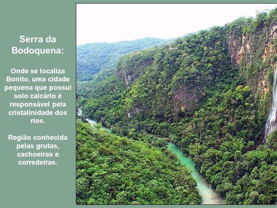 Serra da Bodoquena: Onde se localiza Bonito, uma cidade pequena que possui solo calcário é responsável pela cristalinidade dos rios.