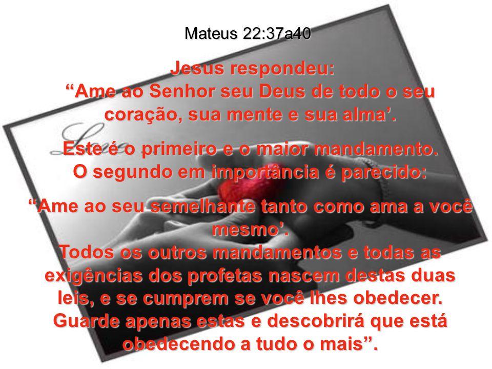 Mateus 22:37a40 Jesus respondeu: Ame ao Senhor seu Deus de todo o seu coração, sua mente e sua alma'.