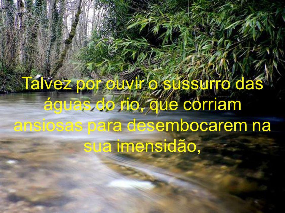 Talvez por ouvir o sussurro das águas do rio, que corriam ansiosas para desembocarem na sua imensidão,