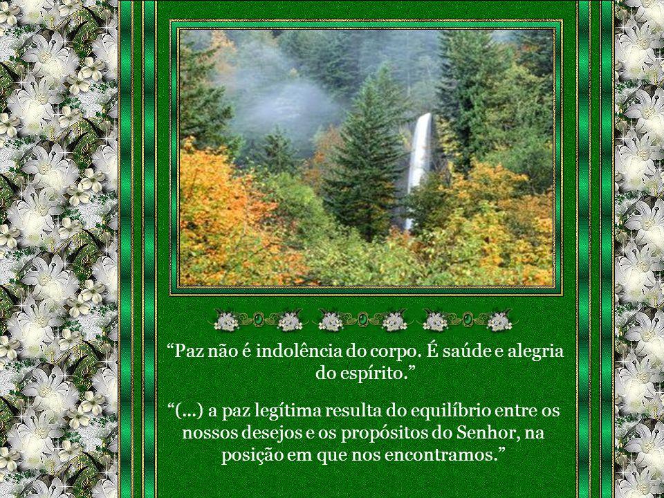 Paz não é indolência do corpo. É saúde e alegria do espírito.