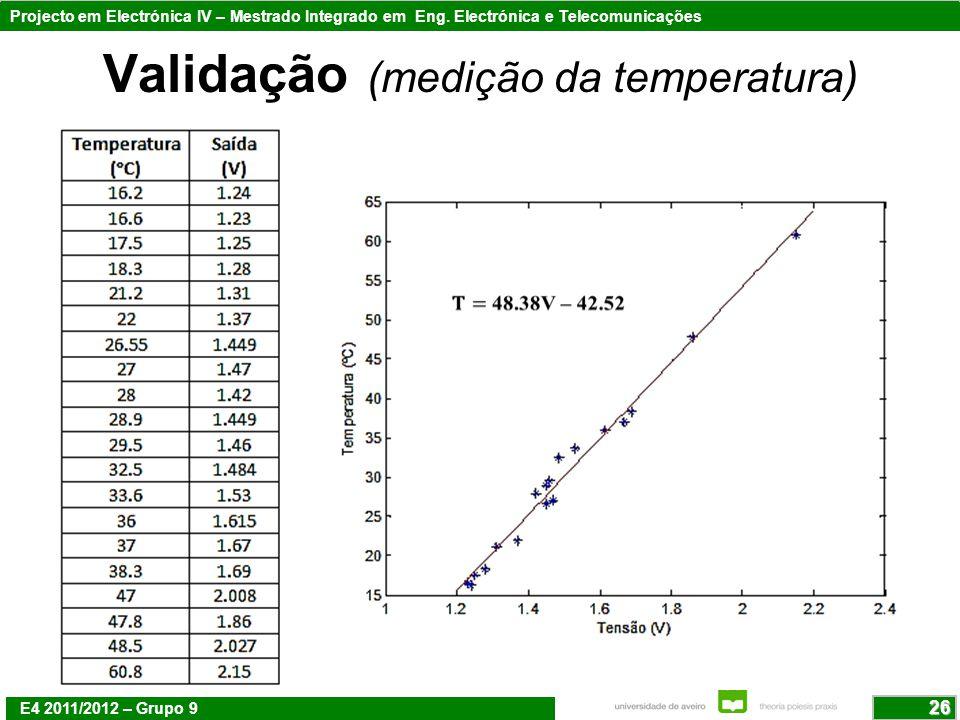 Validação (medição da temperatura)