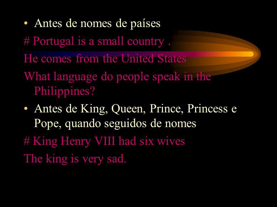 Antes de nomes de países