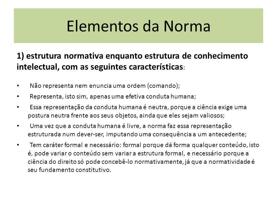 Elementos da Norma 1) estrutura normativa enquanto estrutura de conhecimento intelectual, com as seguintes características: