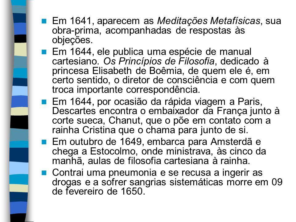 Em 1641, aparecem as Meditações Metafísicas, sua obra-prima, acompanhadas de respostas às objeções.