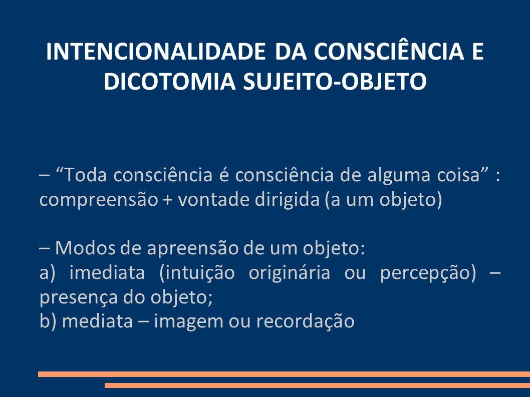 INTENCIONALIDADE DA CONSCIÊNCIA E DICOTOMIA SUJEITO-OBJETO