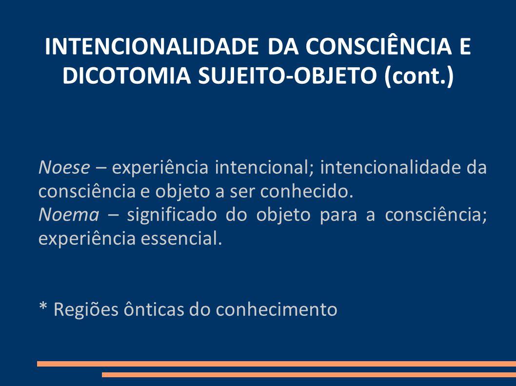 INTENCIONALIDADE DA CONSCIÊNCIA E DICOTOMIA SUJEITO-OBJETO (cont.)