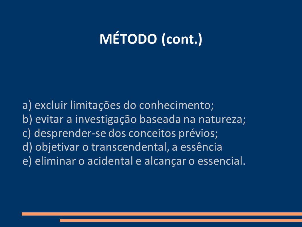 MÉTODO (cont.) a) excluir limitações do conhecimento;