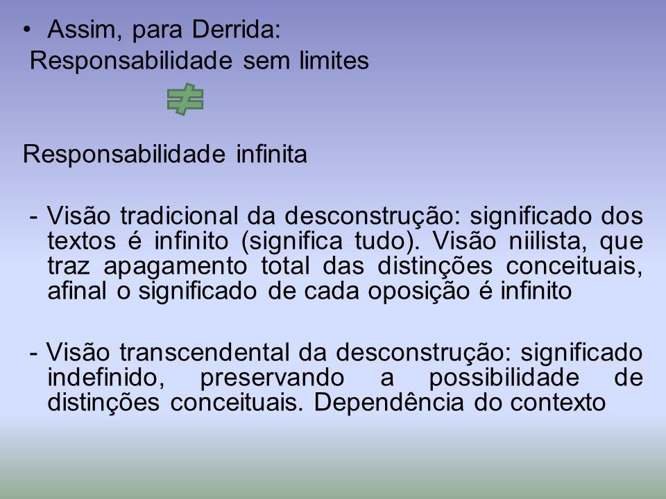 Assim, para Derrida: Responsabilidade sem limites. Responsabilidade infinita.