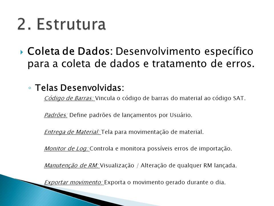 2. Estrutura Coleta de Dados: Desenvolvimento específico para a coleta de dados e tratamento de erros.