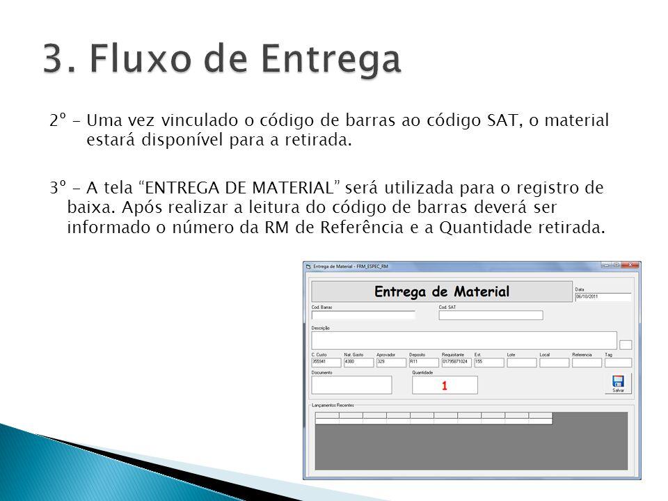 3. Fluxo de Entrega 2º - Uma vez vinculado o código de barras ao código SAT, o material estará disponível para a retirada.