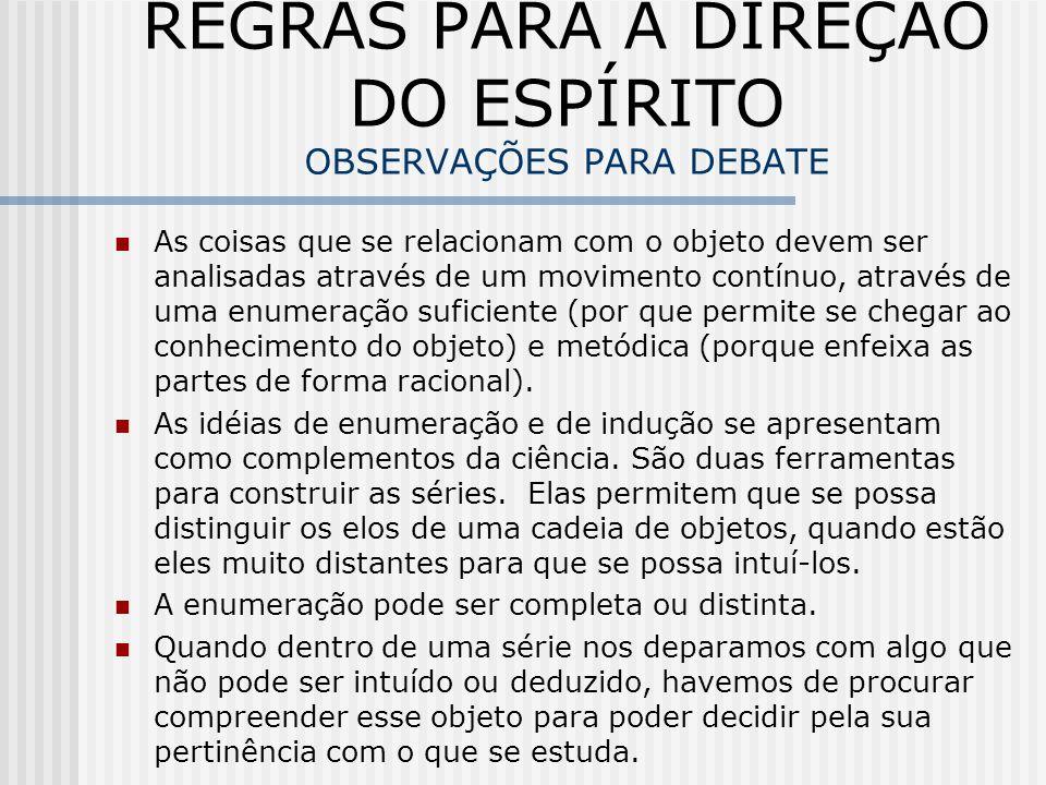 REGRAS PARA A DIREÇÃO DO ESPÍRITO OBSERVAÇÕES PARA DEBATE