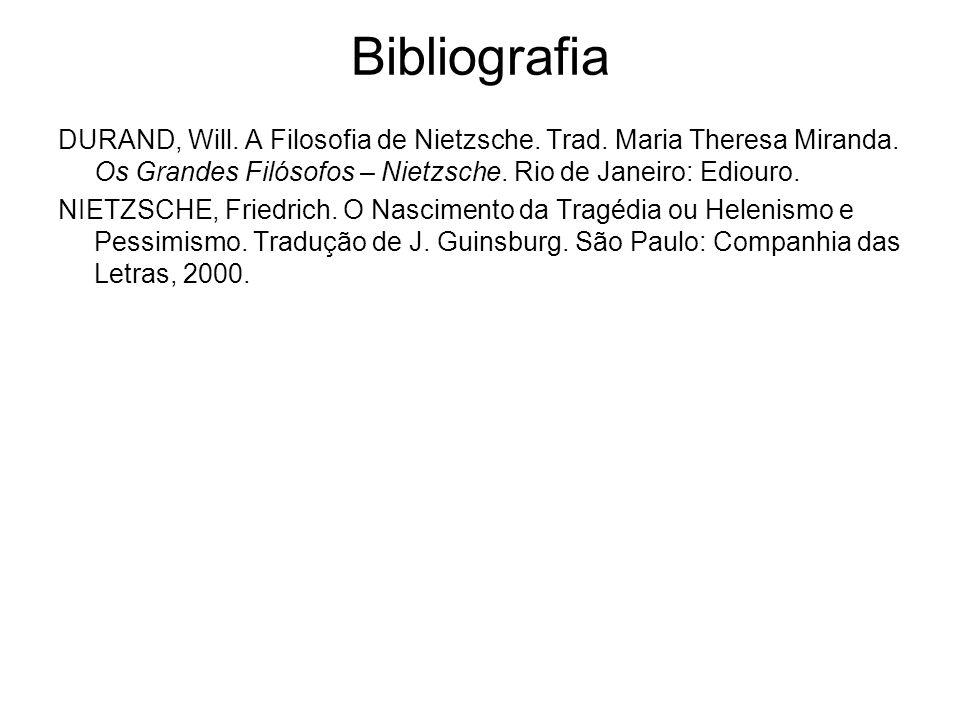Bibliografia DURAND, Will. A Filosofia de Nietzsche. Trad. Maria Theresa Miranda. Os Grandes Filósofos – Nietzsche. Rio de Janeiro: Ediouro.