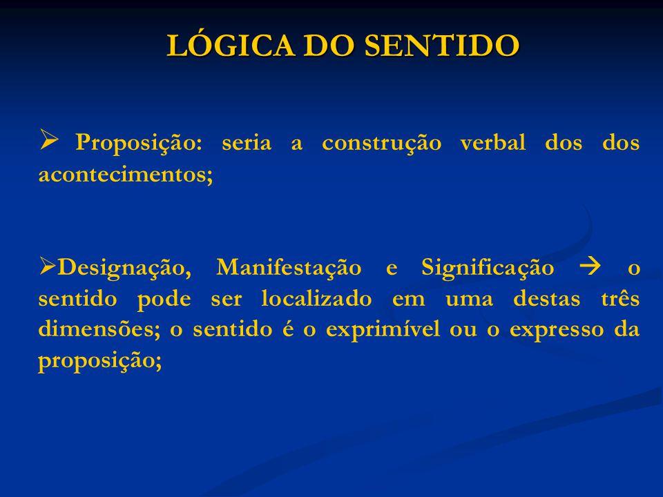 LÓGICA DO SENTIDO Proposição: seria a construção verbal dos dos acontecimentos;
