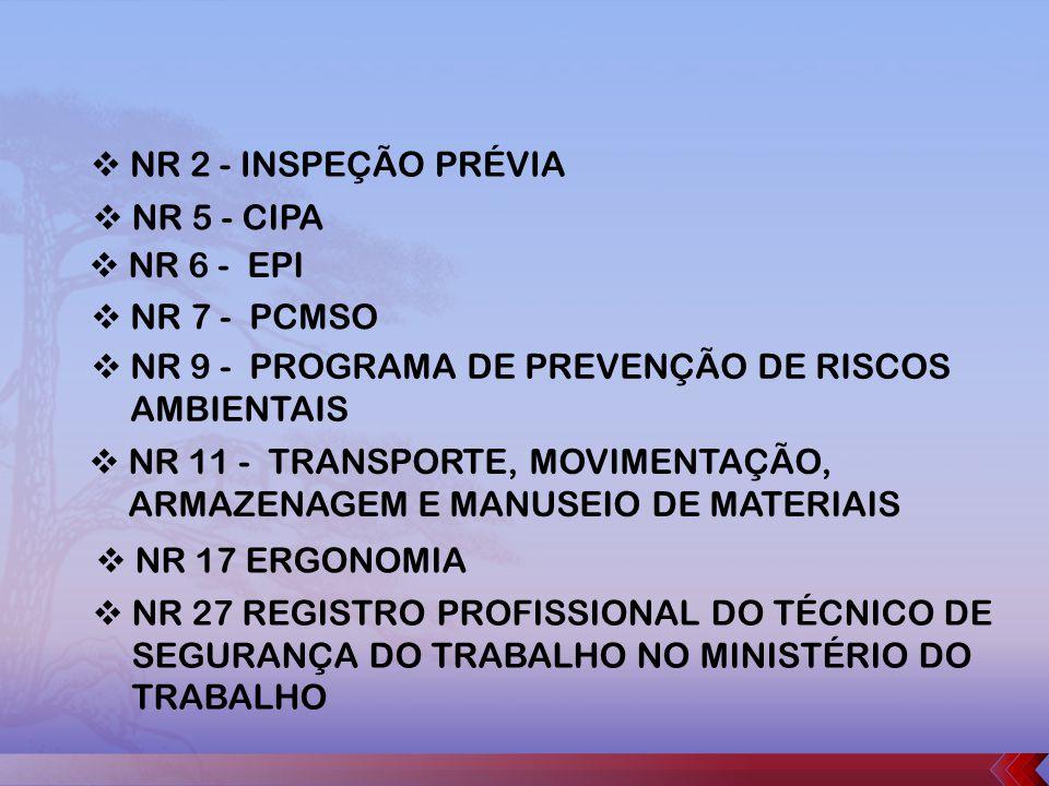 NR 2 - INSPEÇÃO PRÉVIA NR 5 - CIPA. NR 6 - EPI. NR 7 - PCMSO. NR 9 - PROGRAMA DE PREVENÇÃO DE RISCOS AMBIENTAIS.