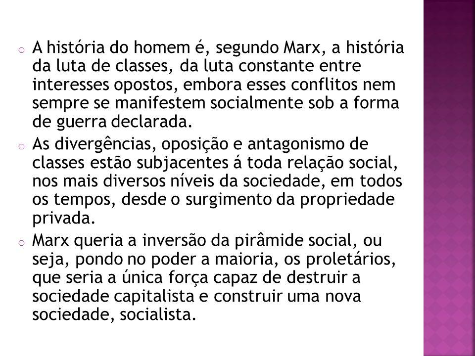 A história do homem é, segundo Marx, a história da luta de classes, da luta constante entre interesses opostos, embora esses conflitos nem sempre se manifestem socialmente sob a forma de guerra declarada.