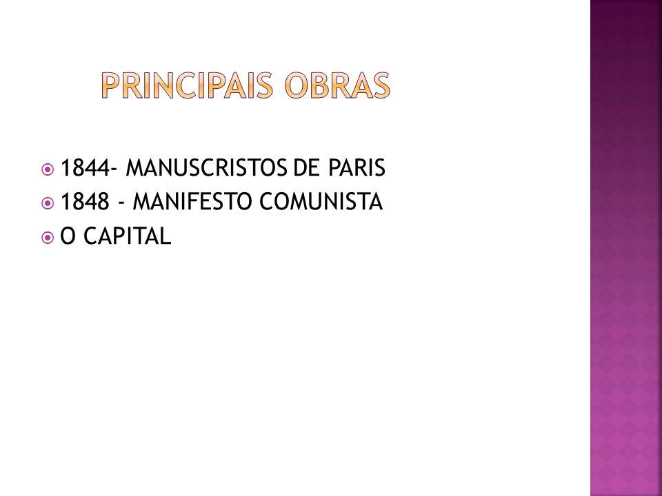 PRINCIPAIS OBRAS 1844- MANUSCRISTOS DE PARIS