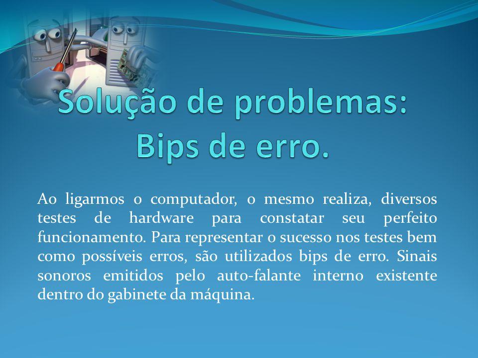 Solução de problemas: Bips de erro.