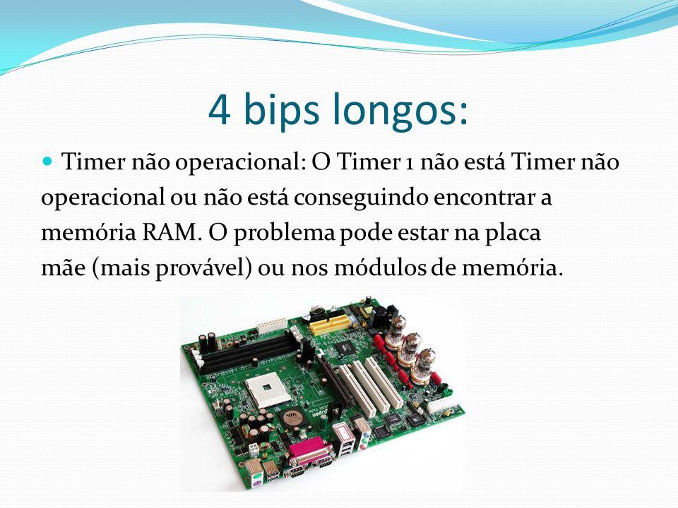 4 bips longos: Timer não operacional: O Timer 1 não está Timer não