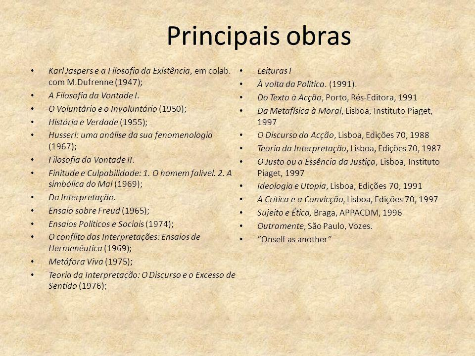 Principais obras Karl Jaspers e a Filosofia da Existência, em colab. com M.Dufrenne (1947); Leituras I.