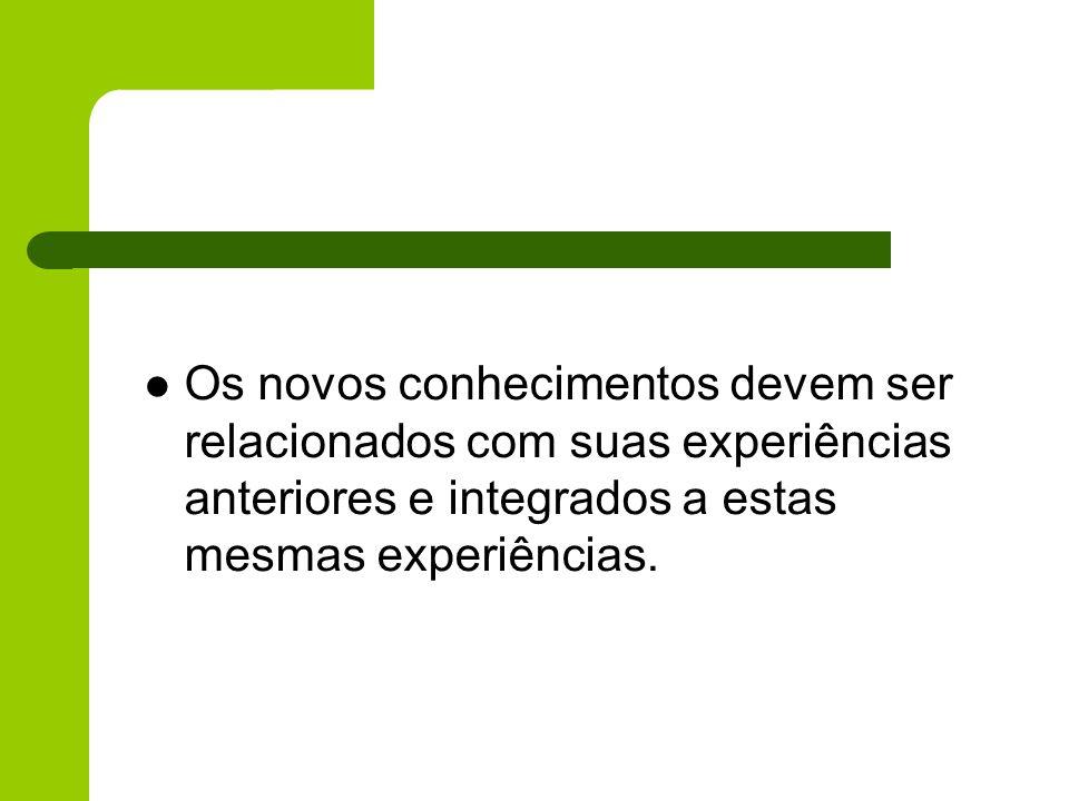 Os novos conhecimentos devem ser relacionados com suas experiências anteriores e integrados a estas mesmas experiências.