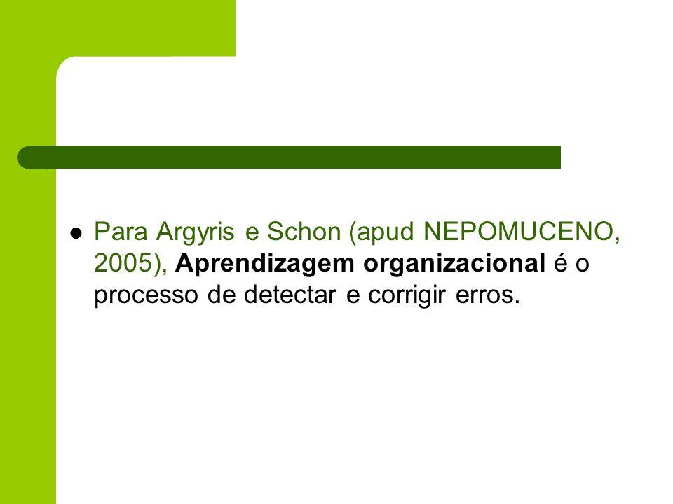 Para Argyris e Schon (apud NEPOMUCENO, 2005), Aprendizagem organizacional é o processo de detectar e corrigir erros.