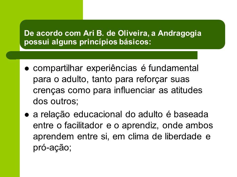 De acordo com Ari B. de Oliveira, a Andragogia possui alguns princípios básicos: