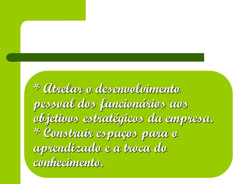 * Atrelar o desenvolvimento pessoal dos funcionários aos objetivos estratégicos da empresa.