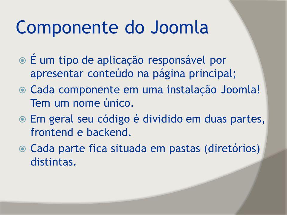 Componente do Joomla É um tipo de aplicação responsável por apresentar conteúdo na página principal;