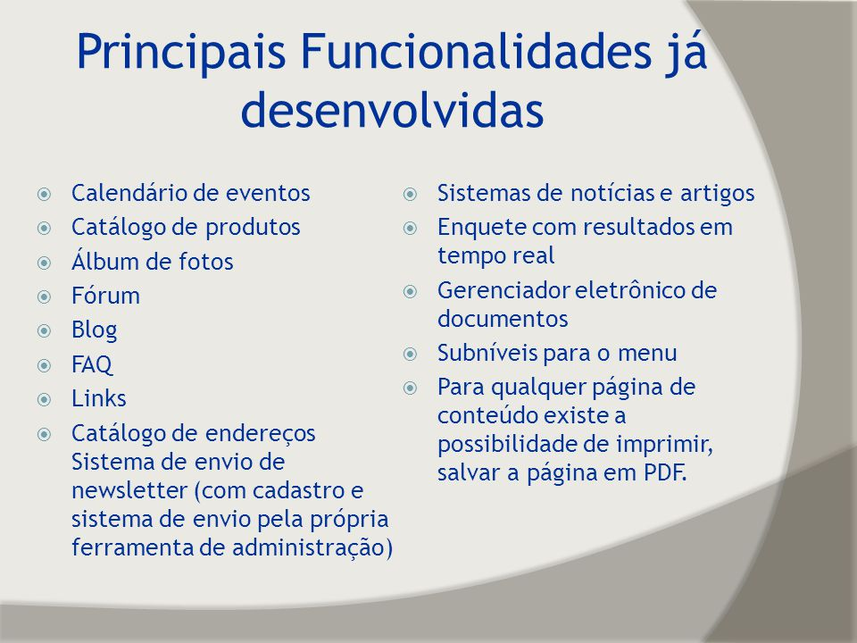 Principais Funcionalidades já desenvolvidas