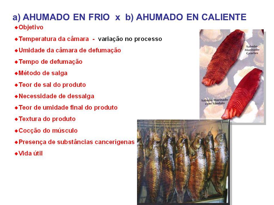 a) AHUMADO EN FRIO x b) AHUMADO EN CALIENTE