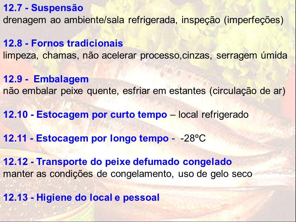 12.7 - Suspensão drenagem ao ambiente/sala refrigerada, inspeção (imperfeções) 12.8 - Fornos tradicionais.