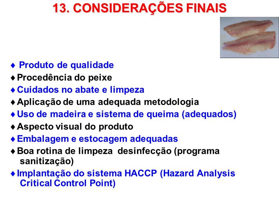 13. CONSIDERAÇÕES FINAIS  Produto de qualidade Procedência do peixe