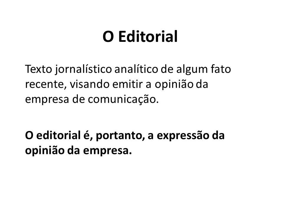 O Editorial Texto jornalístico analítico de algum fato recente, visando emitir a opinião da empresa de comunicação.