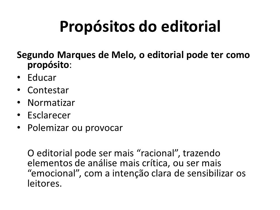 Propósitos do editorial