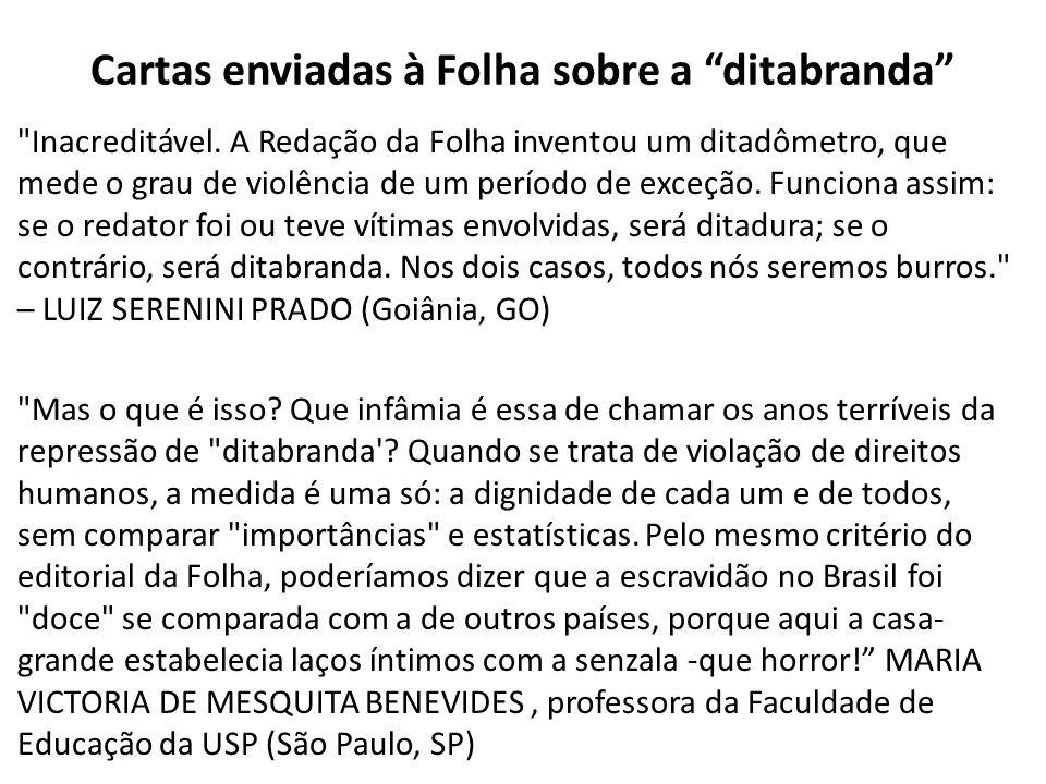 Cartas enviadas à Folha sobre a ditabranda