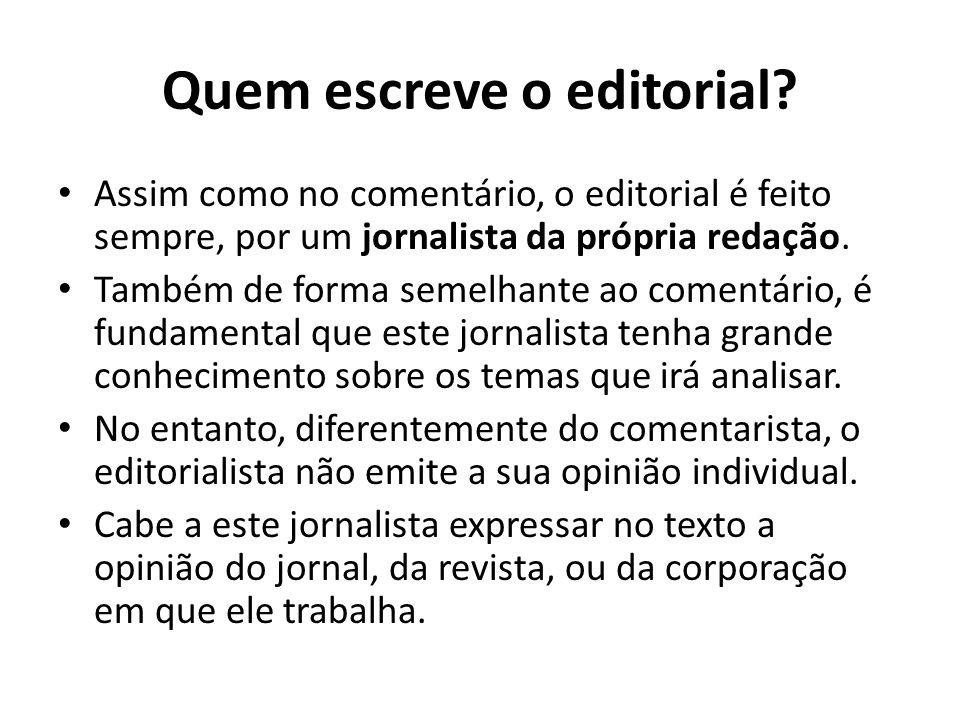 Quem escreve o editorial