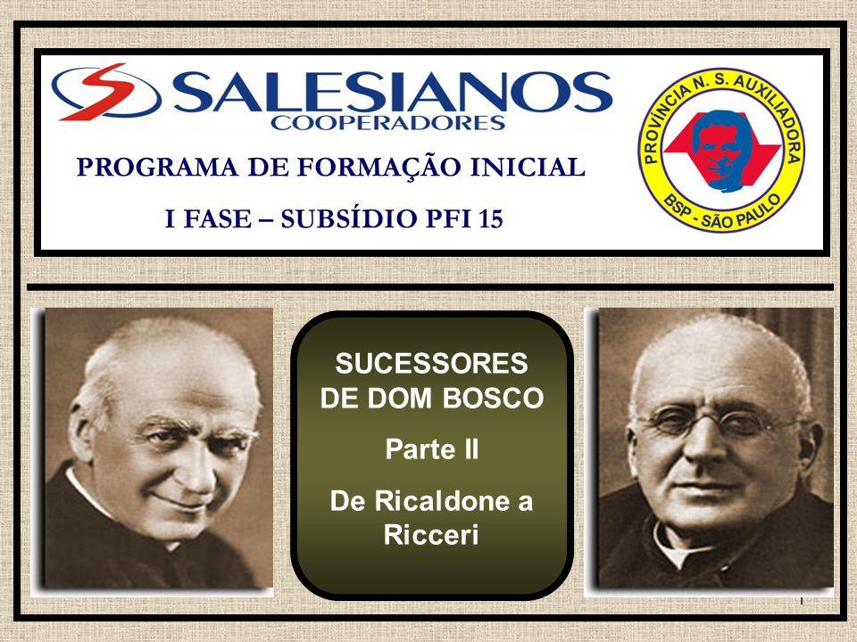 PROGRAMA DE FORMAÇÃO INICIAL SUCESSORES DE DOM BOSCO