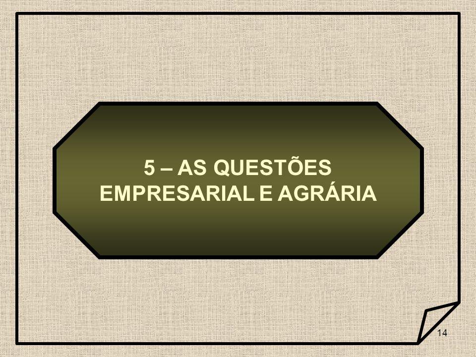 5 – AS QUESTÕES EMPRESARIAL E AGRÁRIA