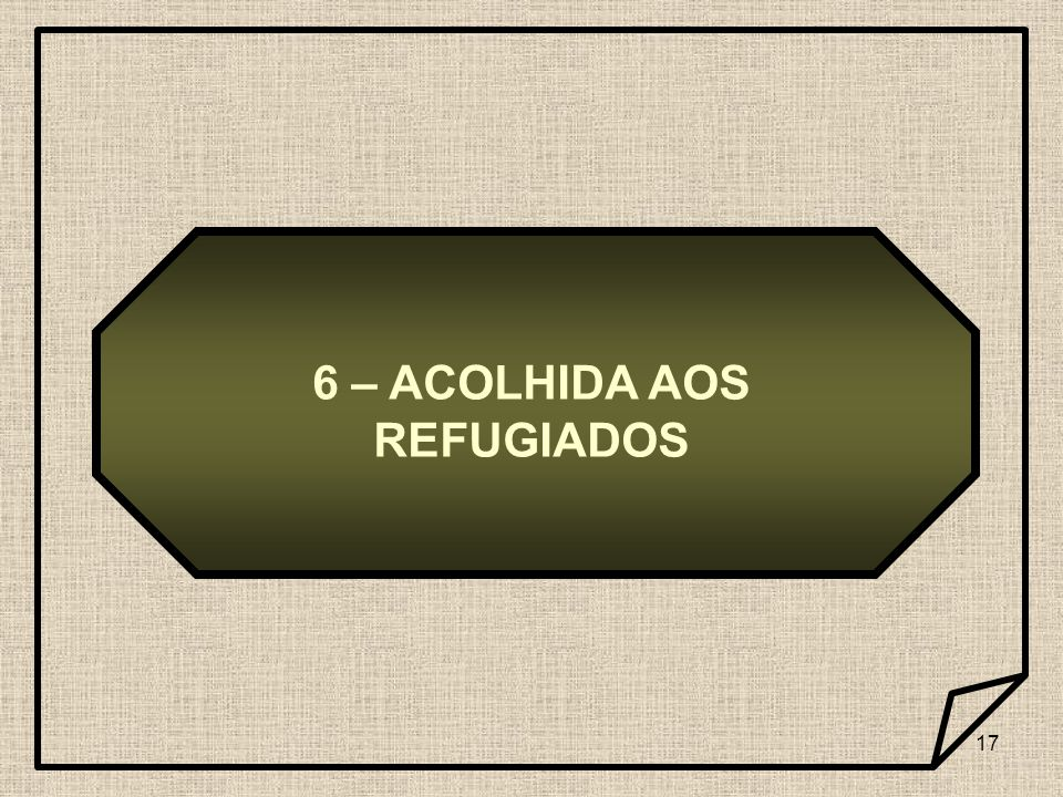 6 – ACOLHIDA AOS REFUGIADOS