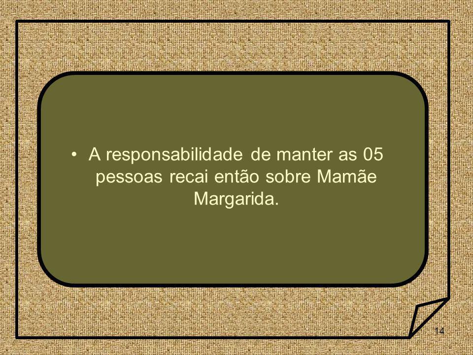 A responsabilidade de manter as 05 pessoas recai então sobre Mamãe Margarida.
