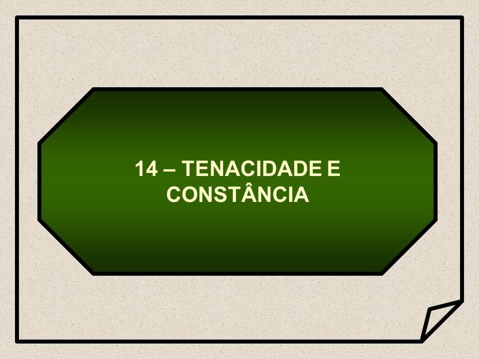 14 – TENACIDADE E CONSTÂNCIA