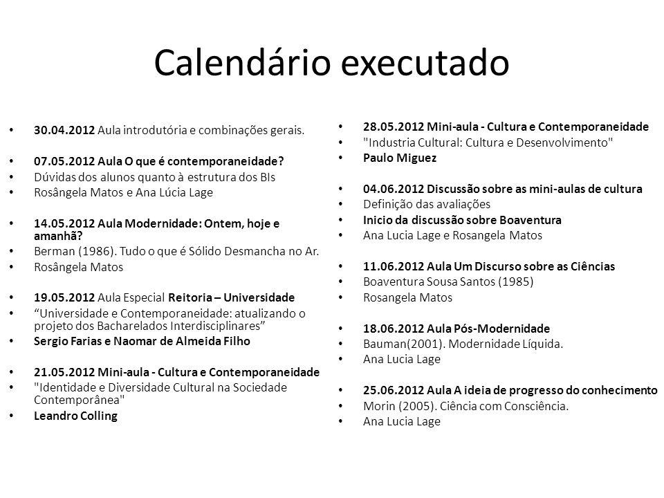 Calendário executado 30.04.2012 Aula introdutória e combinações gerais. 07.05.2012 Aula O que é contemporaneidade