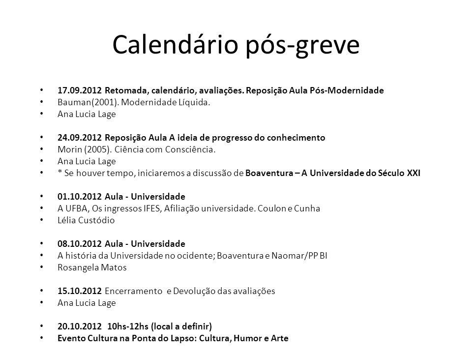 Calendário pós-greve 17.09.2012 Retomada, calendário, avaliações. Reposição Aula Pós-Modernidade. Bauman(2001). Modernidade Líquida.