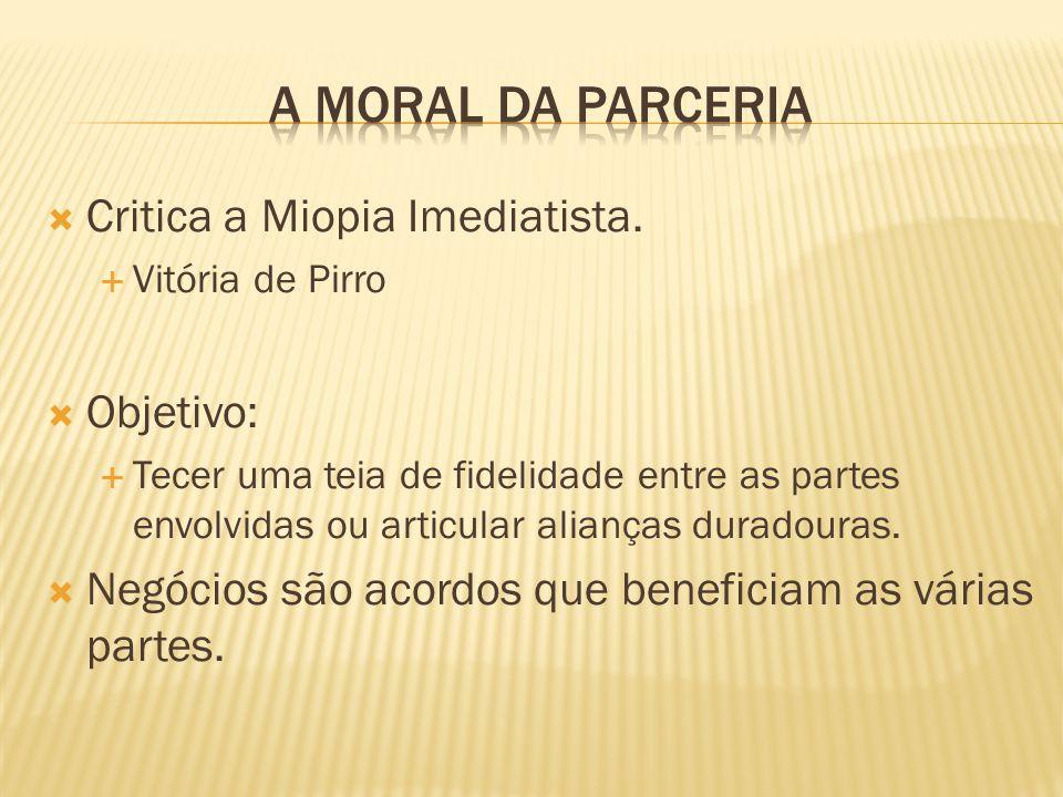 A Moral da Parceria Critica a Miopia Imediatista. Objetivo: