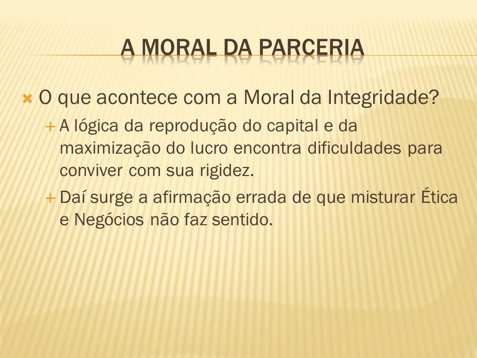 A Moral da Parceria O que acontece com a Moral da Integridade