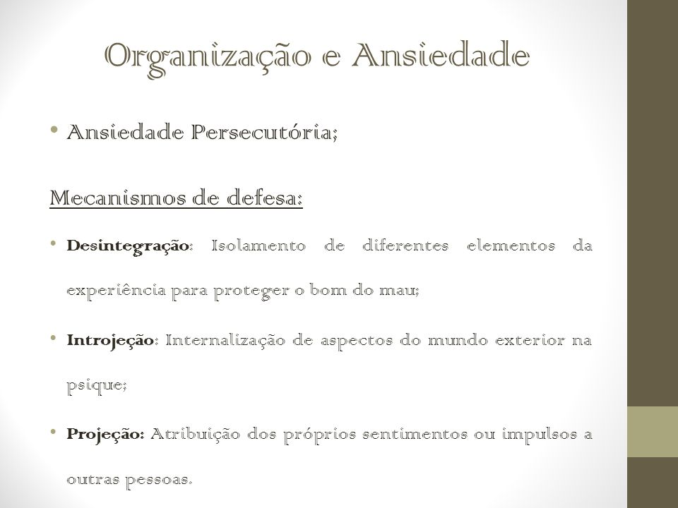 Organização e Ansiedade