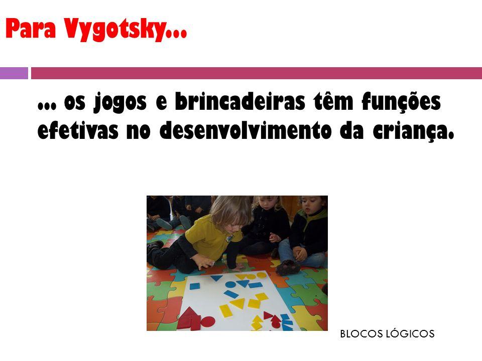 Para Vygotsky... ... os jogos e brincadeiras têm funções efetivas no desenvolvimento da criança.