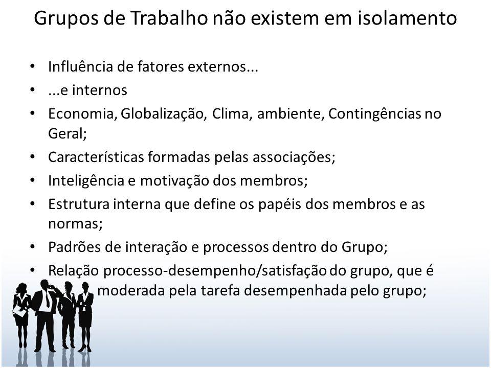 Grupos de Trabalho não existem em isolamento