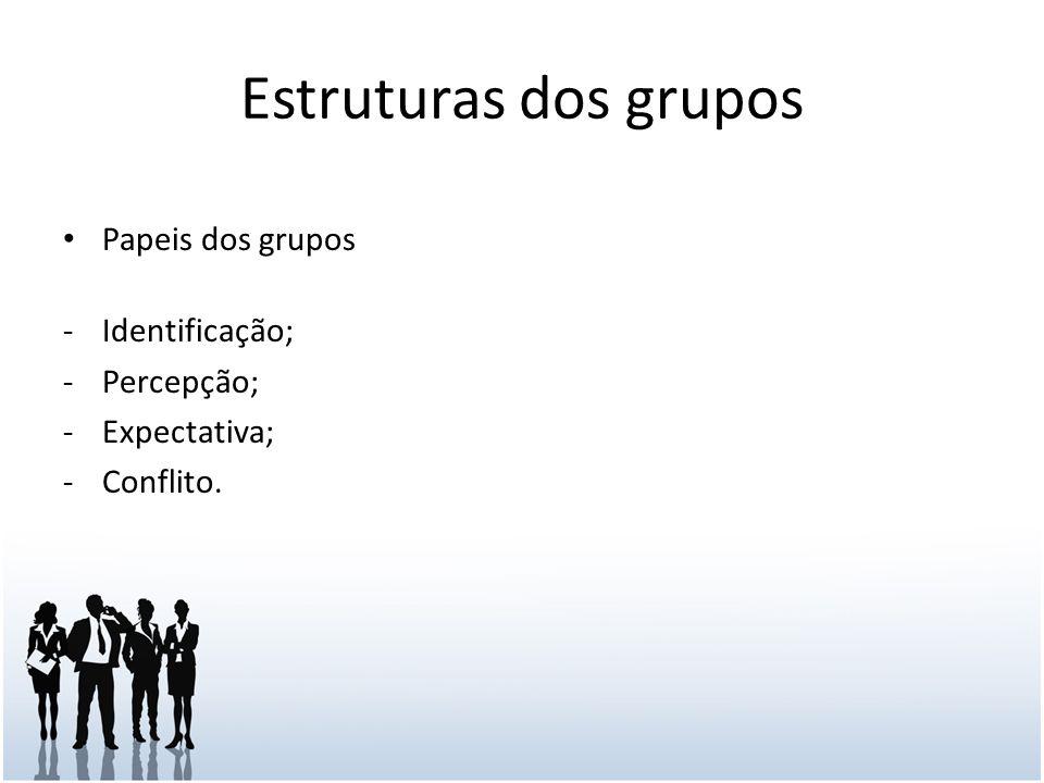 Estruturas dos grupos Papeis dos grupos Identificação; Percepção;