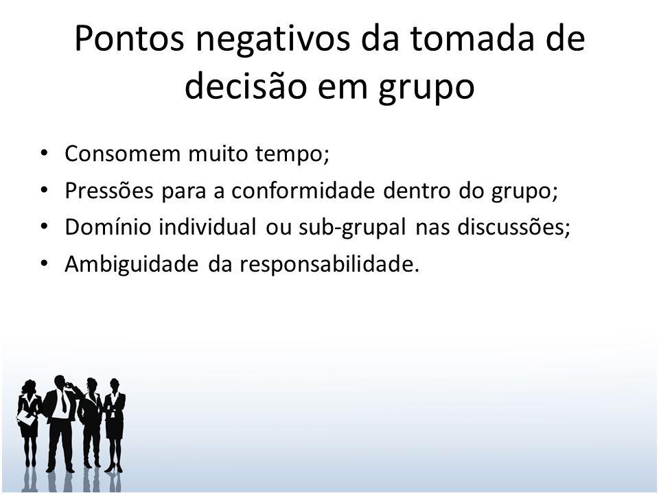 Pontos negativos da tomada de decisão em grupo